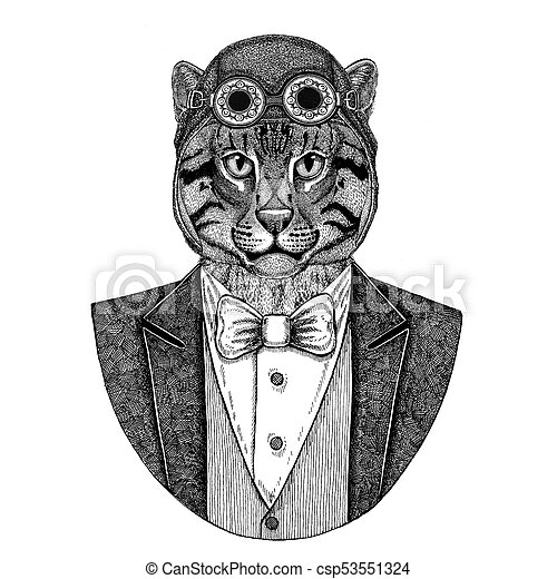 6123330f9 Wild Cat Fishing Cat Animal Wearing Aviator Helmet And Jacket With Bow Tie  Flying Club Hand Drawn