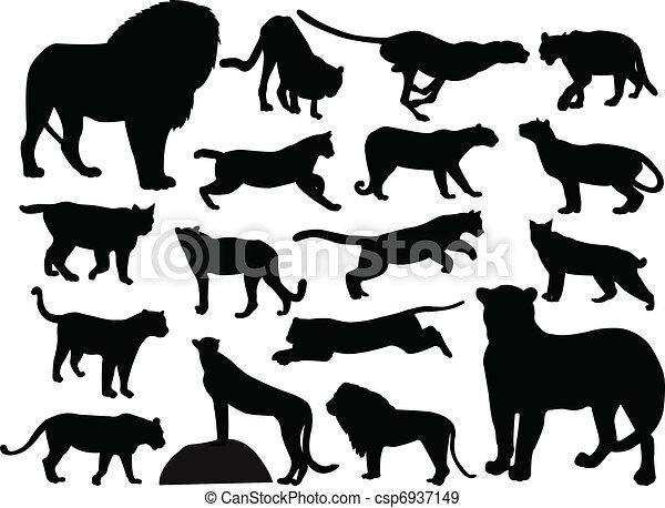 Wild cats silhouettes - csp6937149