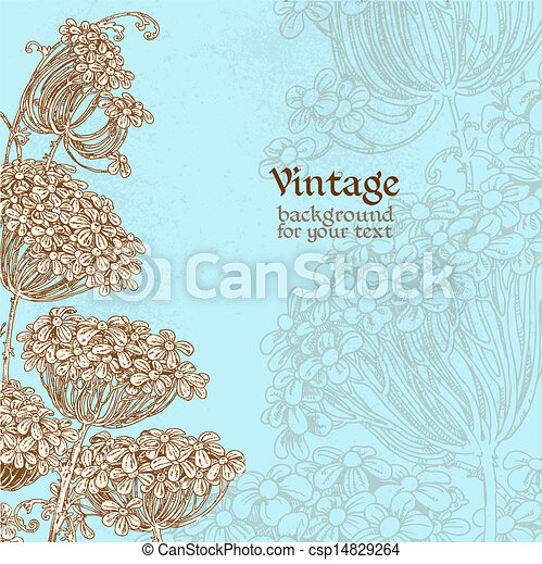 Wild flowers - umbrellas blue vintage background for your text - csp14829264