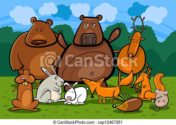 wild forest animals group cartoon illustration - csp12467281