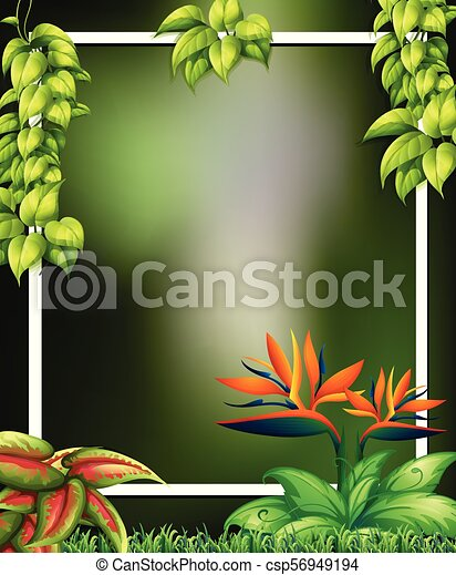 wild forest with flowers green template illustration