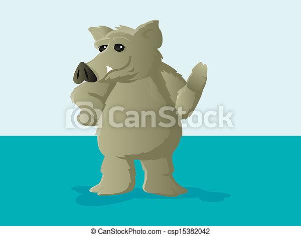 Wild Hog Cartoon - csp15382042