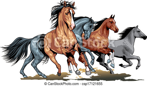 wild horses isolated on the white background rh canstockphoto com horse clipart romance horse clip art silhouette