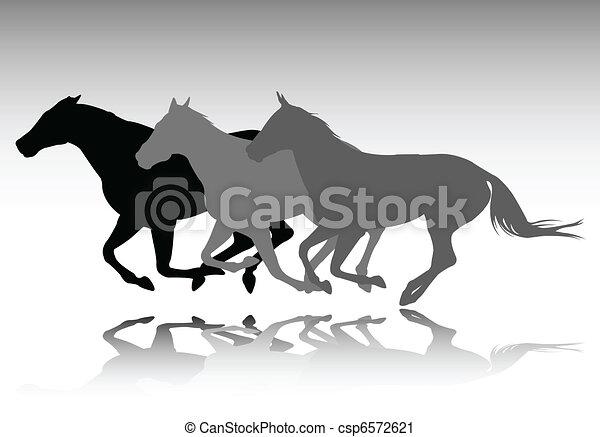 wild horses running vector