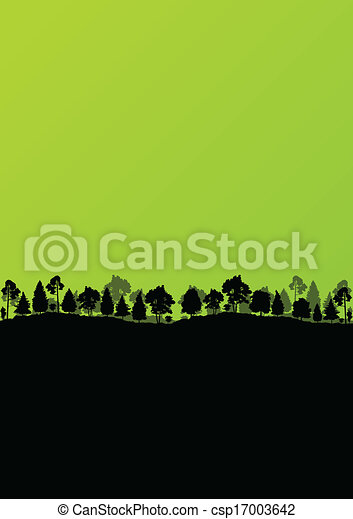 Wild mountain forest nature landscape scene background illustration vector - csp17003642