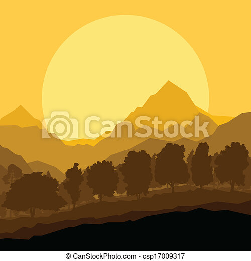 Wild mountain forest nature landscape scene background illustration vector - csp17009317