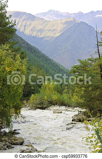 Wild mountain river flowing in the canyon - csp59933776