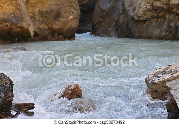 Wild mountain river flowing in the canyon - csp53278492