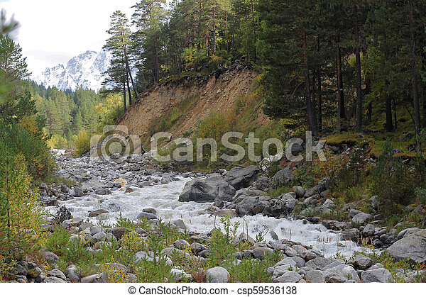 Wild mountain river flowing in the canyon - csp59536138