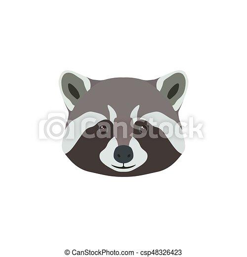 Wild raccoon head. Animal mascot. - csp48326423