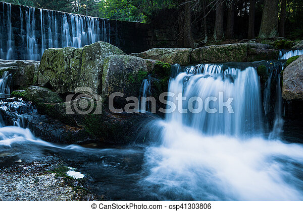 Wild Waterfall In Beautiful Scenery Of Karkonosze Mountains Karpacz Poland