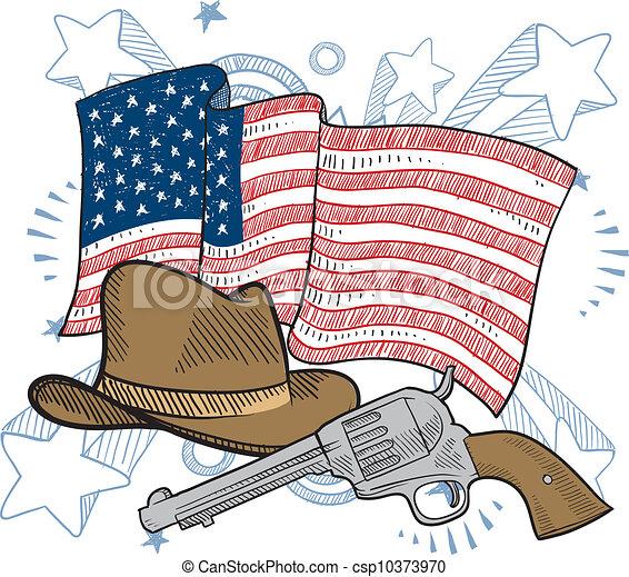 Wild west America sketch - csp10373970
