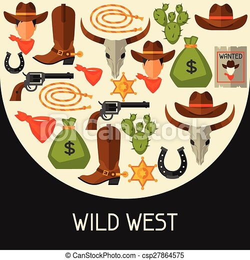 Wild west background with cowboy objects and design elements - csp27864575