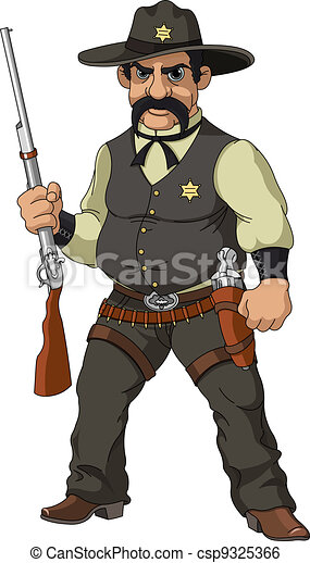 Wild west.  Cartoon sheriff - csp9325366
