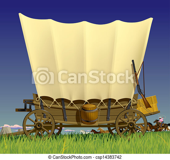 Wild West covered wagon - csp14383742