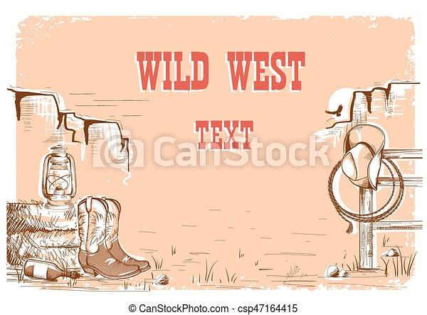 Wild west cowboy background for text. - csp47164415