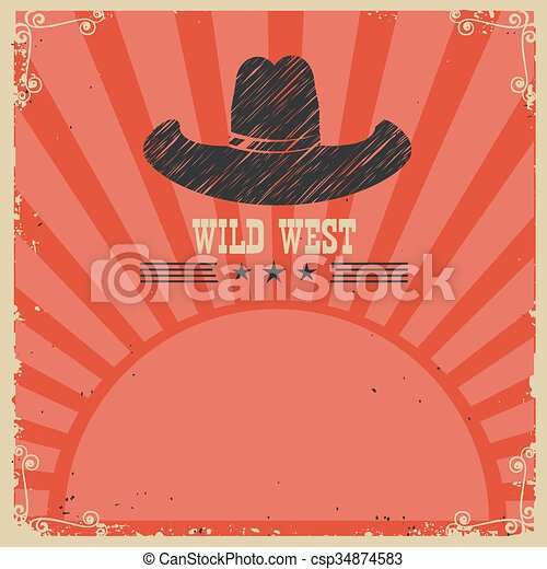 Wild west cowboy background. Vector red card - csp34874583