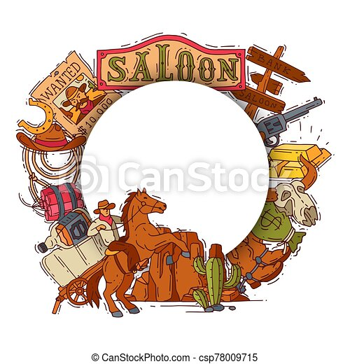 Wild west cowboy elements background with place for text. Colorful cowboy, western, hat, boots and horseshoe vector illustration - csp78009715