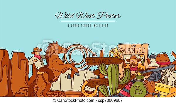 Wild west cowboy elements banner with place for text. Western colorful cowboy, hat, boots and horseshoe poster - csp78009687
