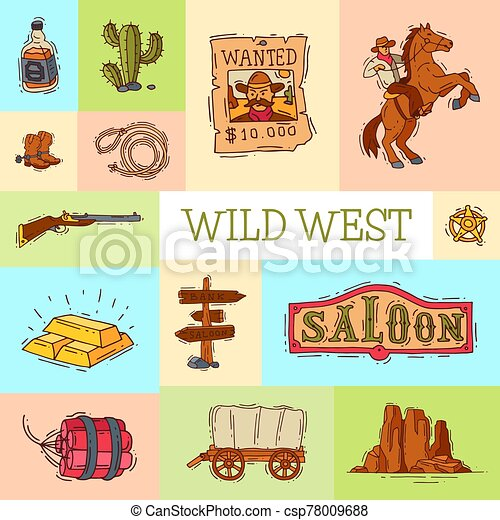 Wild west cowboy elements banner with place for text. Western colorful cowboy, hat, boots and horseshoe poster - csp78009688
