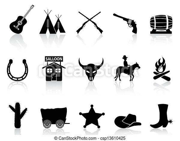 Wild West & Cowboys icons set  - csp13610425