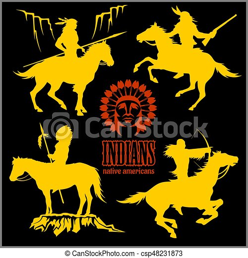 Wild West Silhouettes Native American Warriors Riding Horses