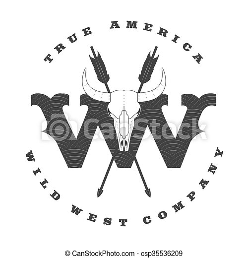 wild west vector concept template logo for a company. Black Bedroom Furniture Sets. Home Design Ideas