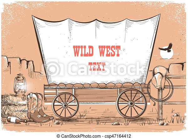 Wild west wagon background for text. - csp47164412