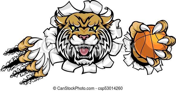 La mascota de la pelota de baloncesto - csp53014260