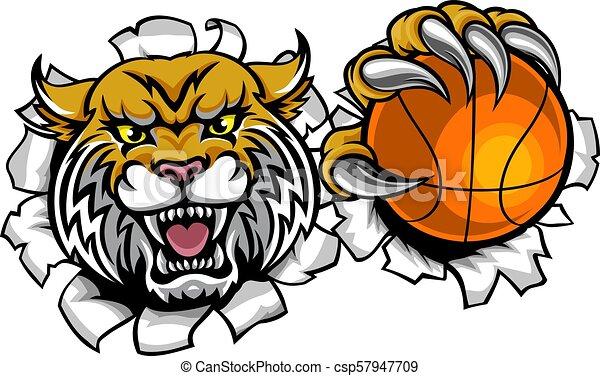 La mascota de la pelota de baloncesto - csp57947709