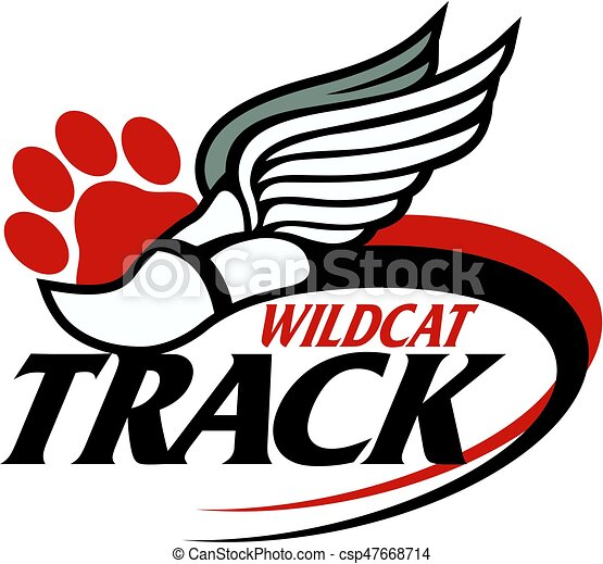 wildcat track team design with track foot and paw print for rh canstockphoto com wildcat clipart mascot wildcat clipart mascot