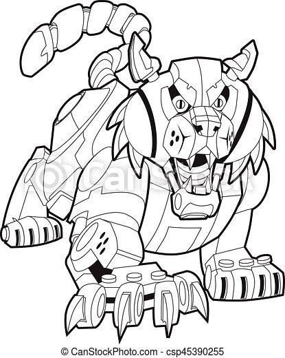 Mecánica lince robot o ilustración de mascotas del vector salvaje - csp45390255