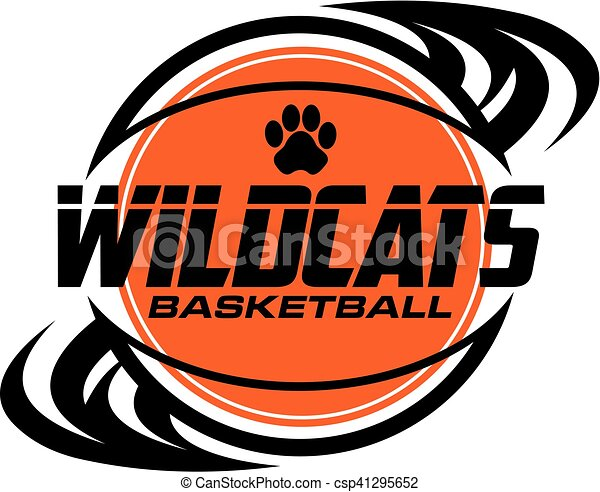 wildcats basketball team design with ball and paw print