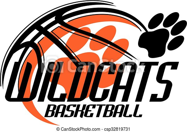 wildcats basketball team design with paw print for school college rh canstockphoto ca wildcat clipart mascot wildcat clipart free