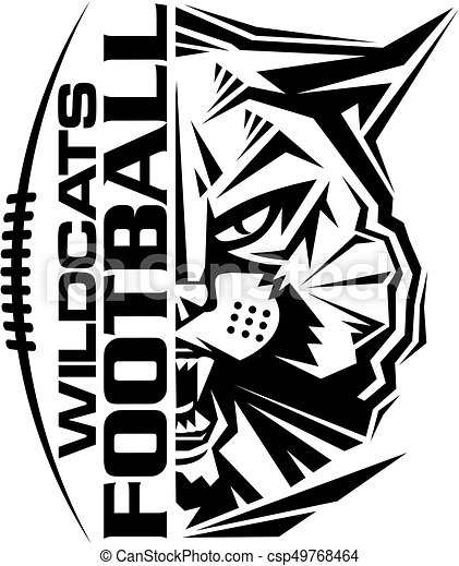 wildcats football team design with mascot and laces for clip art rh canstockphoto co uk wildcats clipart black and white arizona wildcats clipart