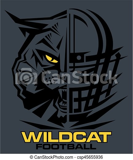 Wildcats Football Team Design With Mascot And Facemask For