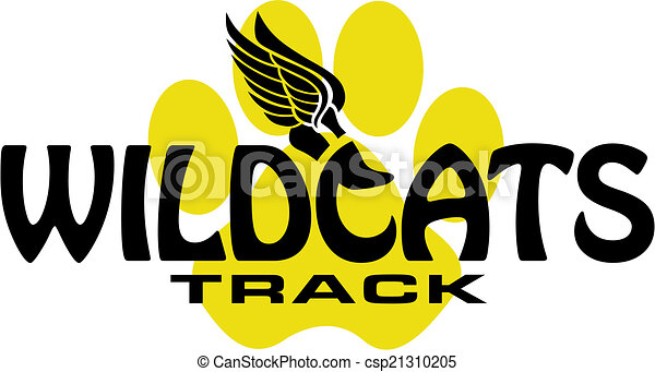 wildcats track design with track foot and paw print vector clipart rh canstockphoto com Kentucky Wildcats Clip Art K-State Wildcat Clip Art