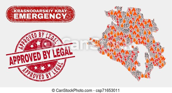 Wildfire and Emergency Collage of Krasnodarskiy Kray Map and Grunge Approved by Legal Stamp Seal - csp71653011