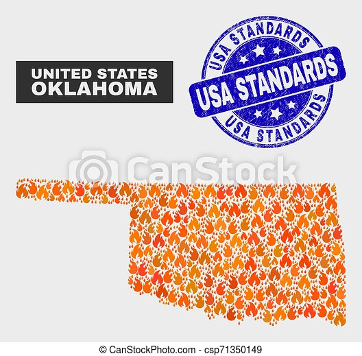 Wildfire Mosaic Oklahoma State Map and Distress USA Standards Stamp Seal - csp71350149