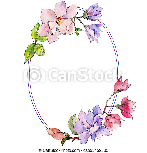 Wildflower Magnolia Flower Wreath In A Watercolor Style Full Name