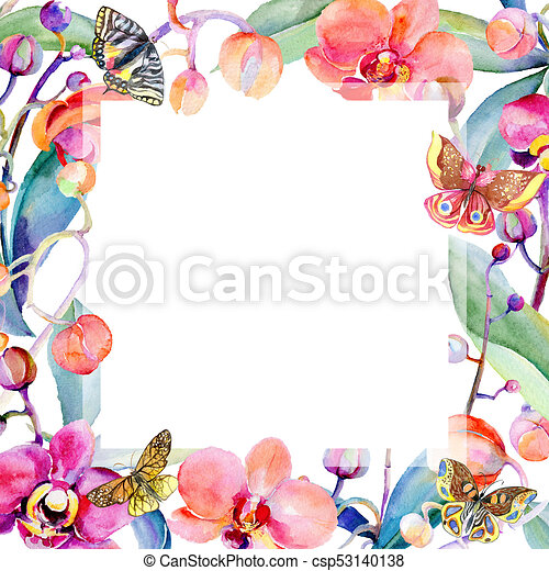 Wildflower orchid flower frame in a watercolor style. full ...