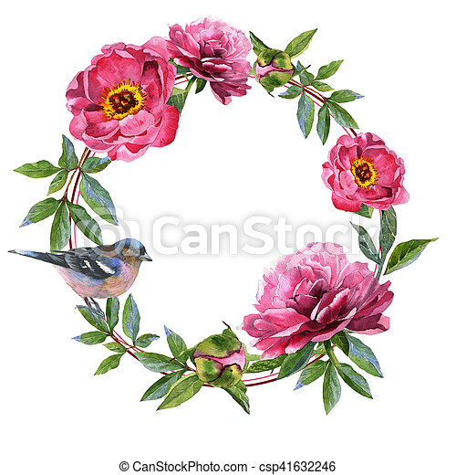 Wildflower peony flower frame in a watercolor style isolated. - csp41632246