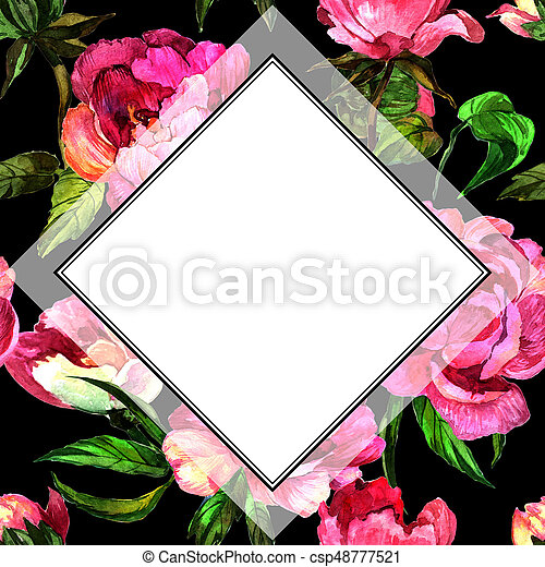 Wildflower peony flower in frame a watercolor style. - csp48777521