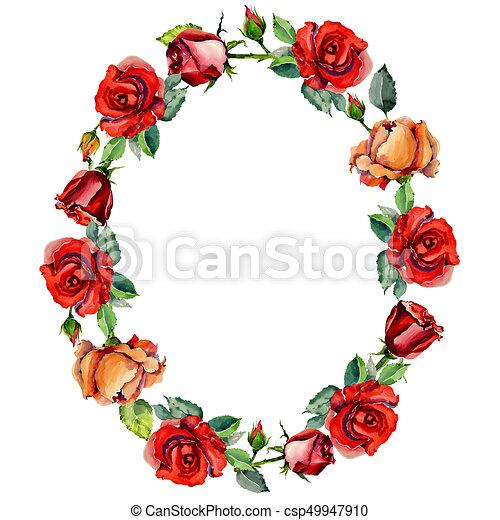 Wildflower Rose Flower Wreath In A Watercolor Style Wildflower Rose