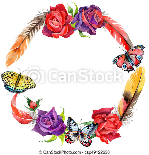 wildflower rose flower wreath in a watercolor style full name of rh canstockphoto com