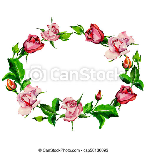 Wildflower Rose Flower Wreath In A Watercolor Style Full Name Of