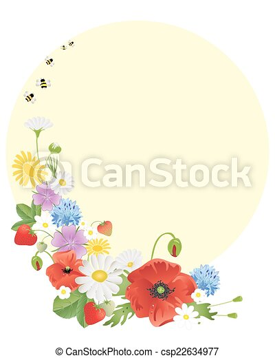 wildflowers and bees - csp22634977