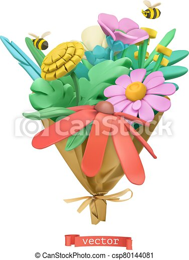 Wildflowers bouquet. Plasticine art. 3d vector icon - csp80144081