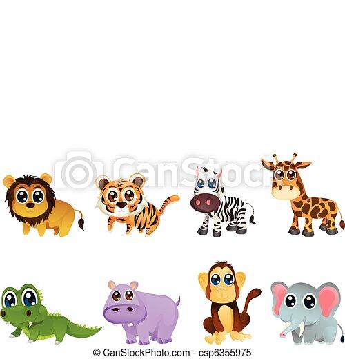 Wildlife animal cartoons - csp6355975