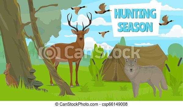 Wildlife animals in forest, hunting season - csp66149008